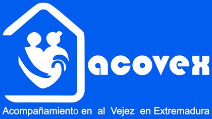 Logo acovex completo completo abajo fondo azul - Acompañamiento en la vejez en Extremadura. Ayuda a Domicilio, Promoción a la Autonomía, residencias,