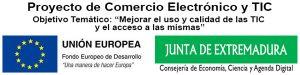 Logo del Proyecto de Comercio Electrónico y TIC, de la Junta de Extremadura con Fondos FEDER